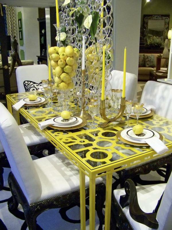 esszimmer gestaltung interieur gelbe akzente leuchter