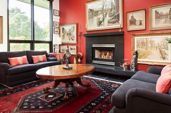 wohnzimmer rote wand:eklektisches wohnzimmer rote wand bilder kamin sofas