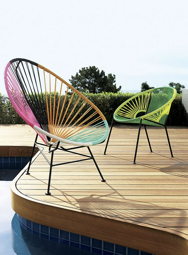 exklusive gartenmöbel gartendesign farbige stühle