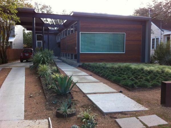exterior design ideen vorgarten garten modern steinplatten
