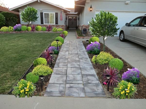 exterior design ideen vorgarten gestalten bunte pflanzen pfad