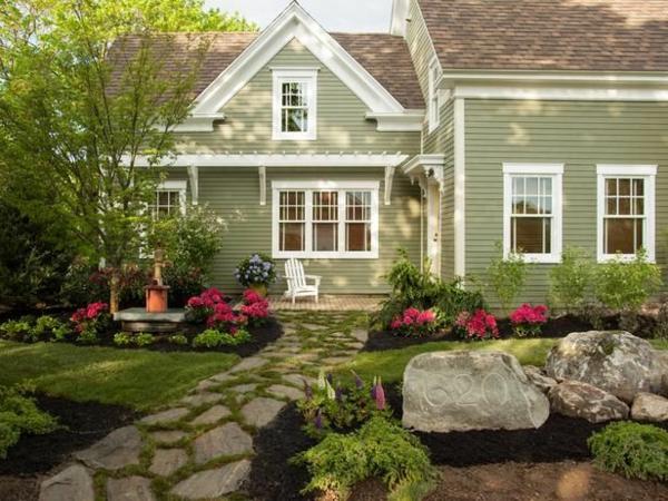 exterior design ideen vorgarten gestalten steinpfad rasenfläche