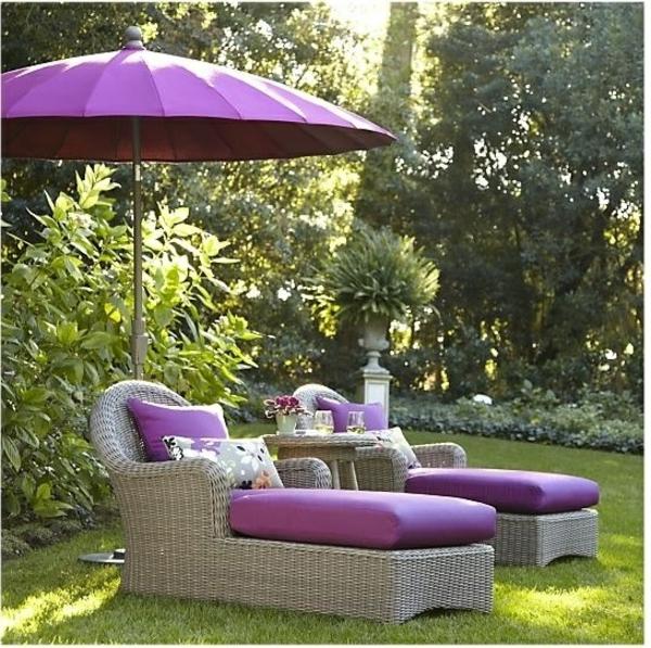 exterior patio rattanmöbel für outdoor polyrattan liegen lila auflage