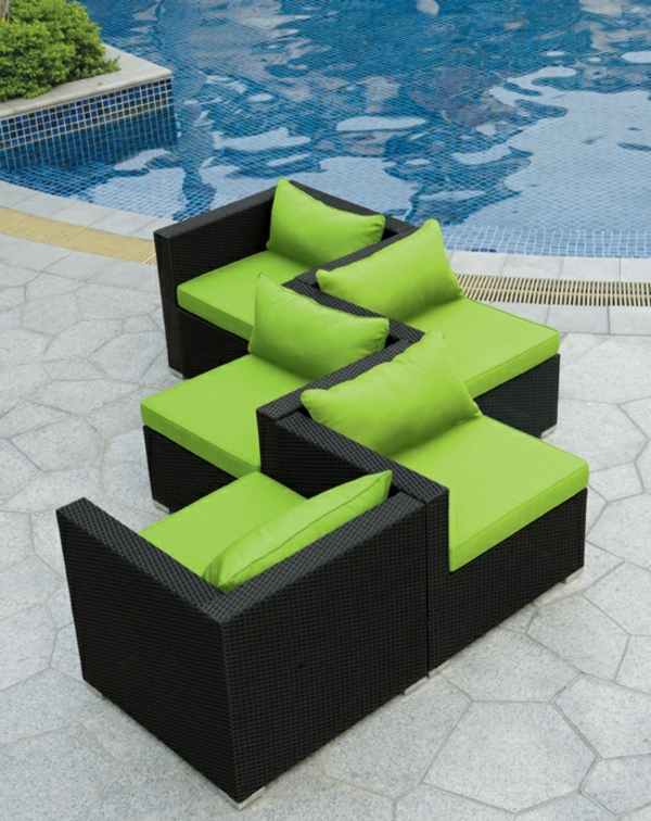exterior patio rattanmöbel für outdoor polyrattan sessel grüne auflage