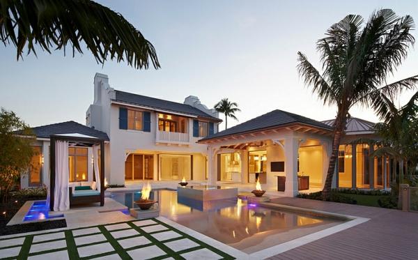 gartengestaltung pool steinplatten palmen pergola outdoor bett