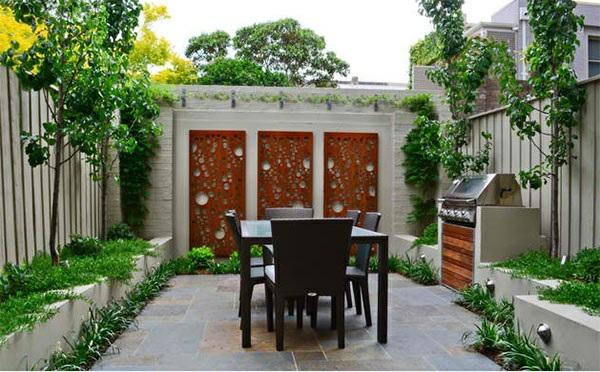exterior asiatischer garten patio dekoideen gartenmöbel