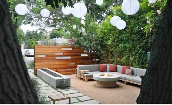 exterior zen garten patio dekoideen pendelleuchten sitzecke