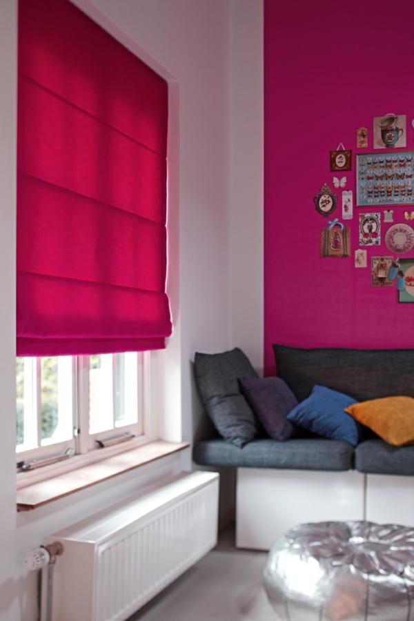 faltrollo selber nähen fenster sichtschutz wohnzimmer wandfarbe pink raffrollos