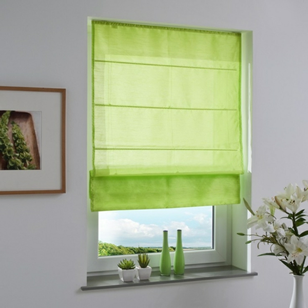 faltrollo selber nähen grün fenster deko ideen