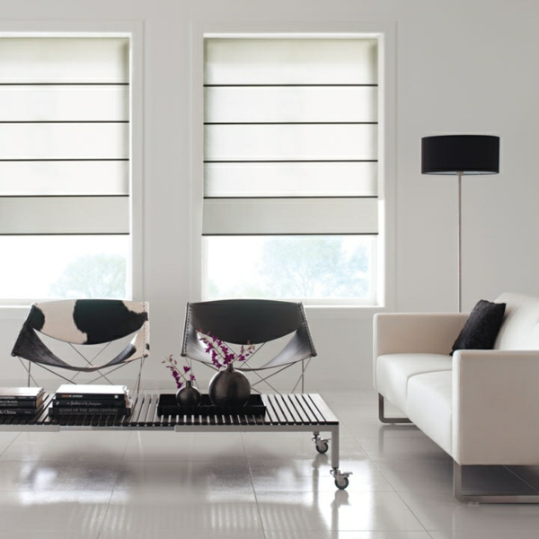 faltrollo selber nähen grau fenster deko minimalistisch wohnzimmer raffrollos