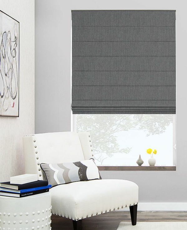 wohnzimmer deko grau:Faltrollo selber nähen – eine DIY Idee mit praktischem Einsatz