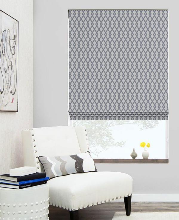 faltrollo selber nähen grau gemustert fenster deko wohnzimmer raffrollos