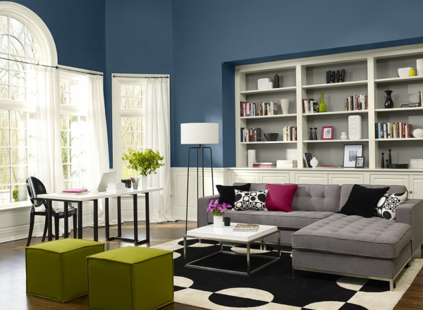 wohnzimmer ideen : wohnzimmer ideen wandgestaltung blau, Wohnzimmer dekoo