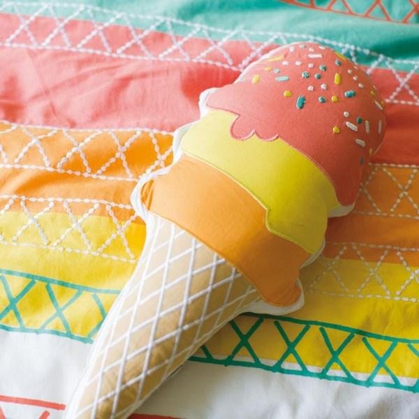 farbenfrohe tischdeko sommerparty deko ideen eis aus stoff selber basteln