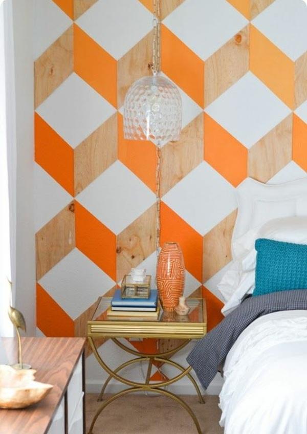 farbgestaltung ideen schlafzimmer kräftige farben geometrische muster wandgestaltung