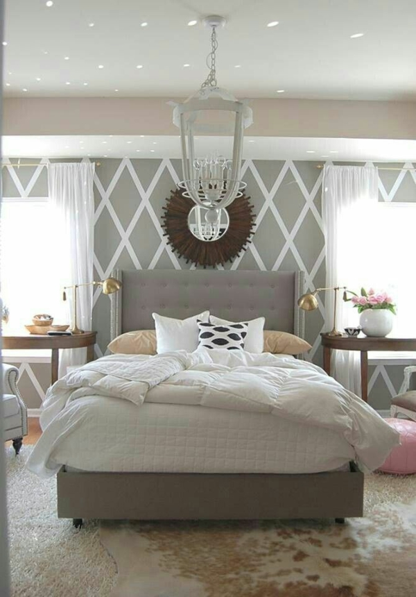 ... schlafzimmer beige grau neutralle erdige farben polsterbett