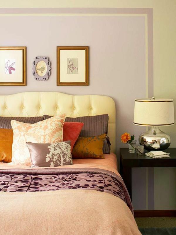 farbgestaltung schlafzimmer farbideen pastellfarben lila wandfarbe wanddeko