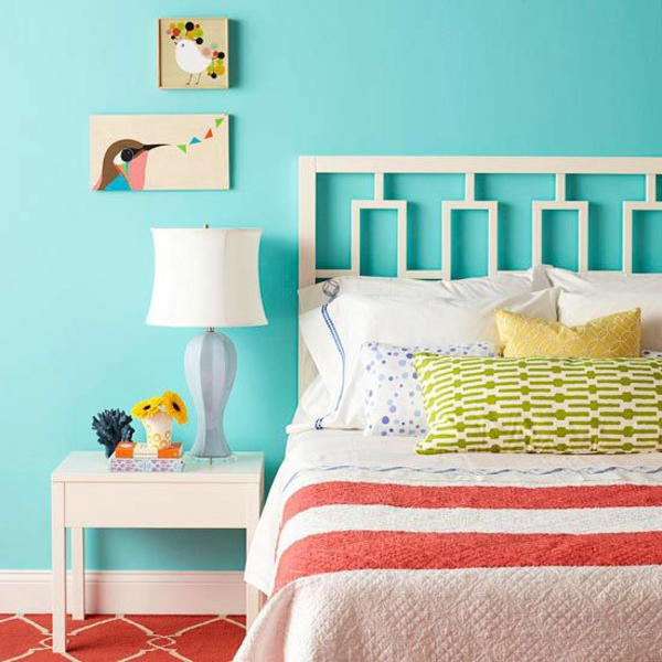 farbgestaltung schlafzimmer farbideen türkis blau wandfarbe wanddeko