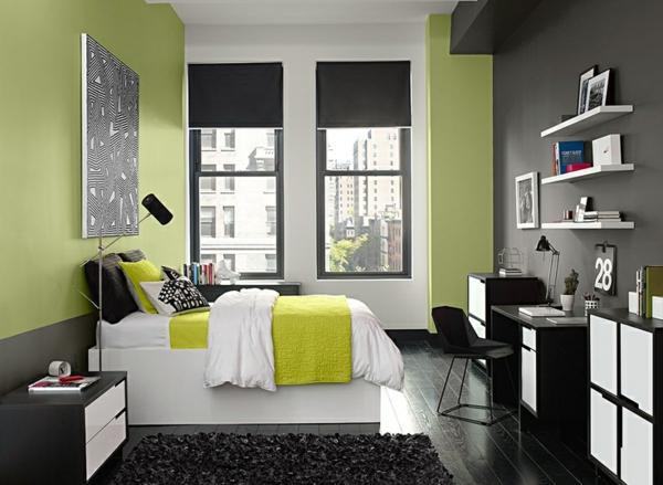 farbgestaltung schlafzimmer farbideen wandfarbe olivgrün bettwäsche grüngelb