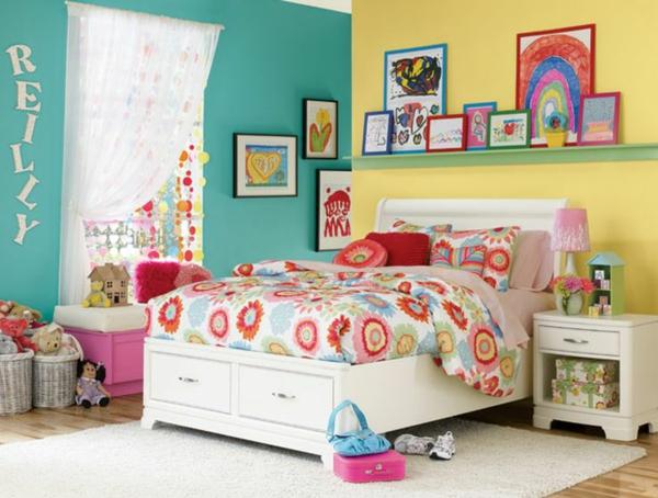 farbgestaltung schlafzimmer kinderzimmer farbideen gelbe türkisblau wandfarbe