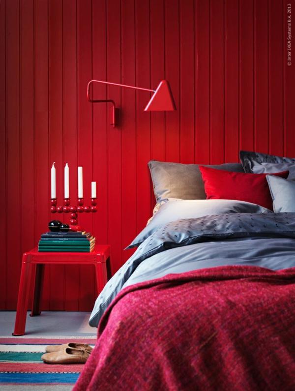 farbgestaltung schlafzimmer kräftige farben rot wandfarbe wandpaneele