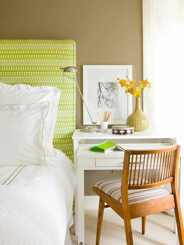 farbgestaltung schlafzimmer leuchtende farben beige wandfarbe grün weiß gelb