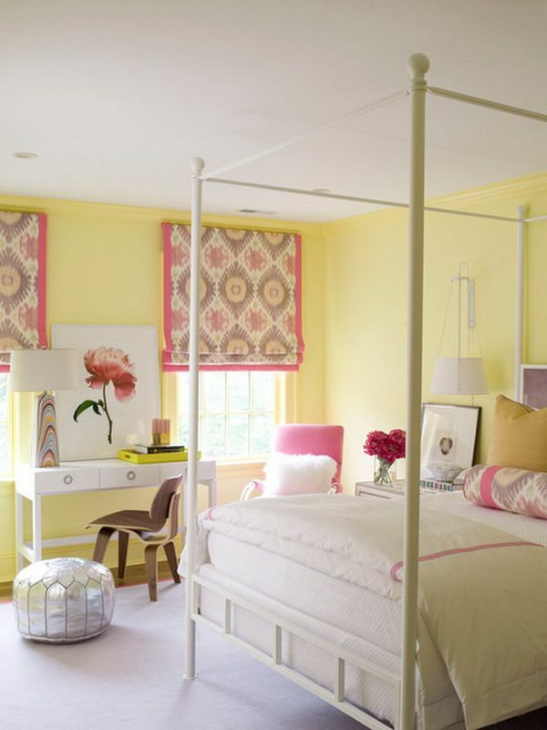farbgestaltung schlafzimmer pastellfarben gelb wandfarbe trosa akzente
