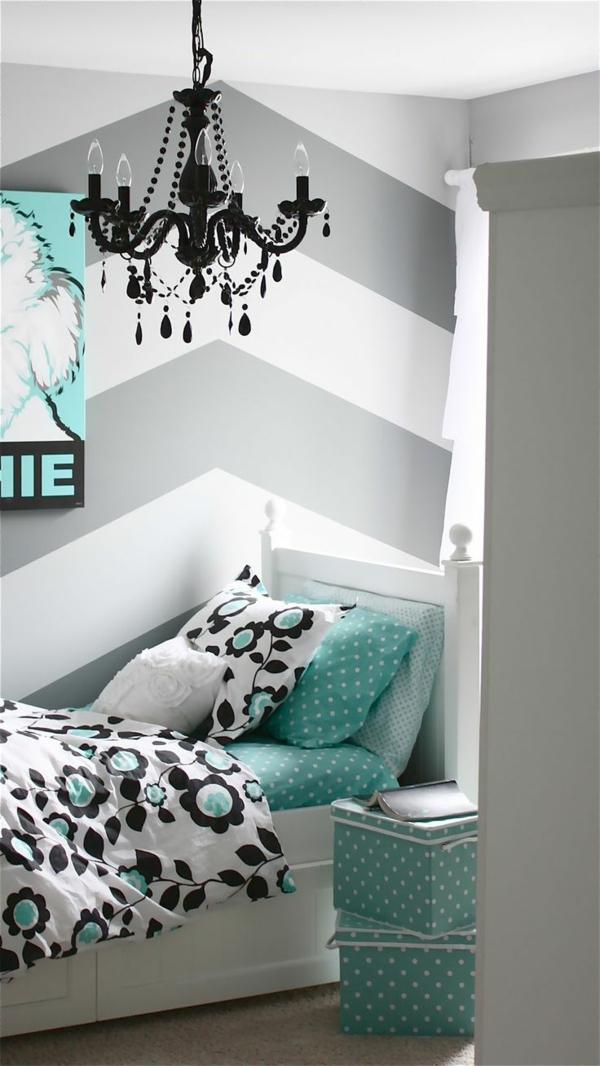 farbgestaltung schlafzimmer türkis grau muster bettwäsche