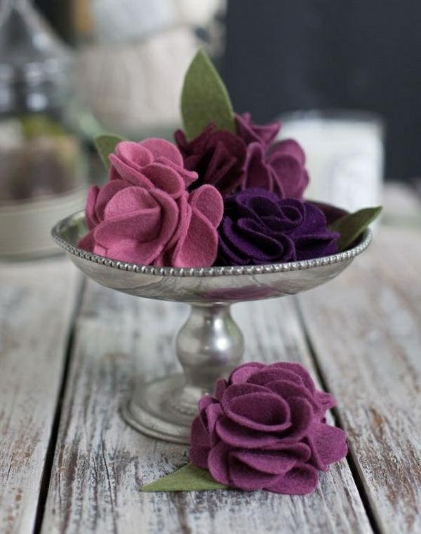 farbige filzblumen zum selbermachen diy deko ideen
