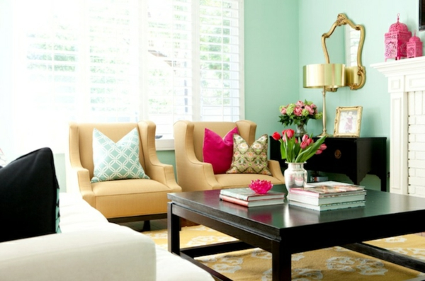 farbige wandgestaltung wandfarben wände streichen mintgrün