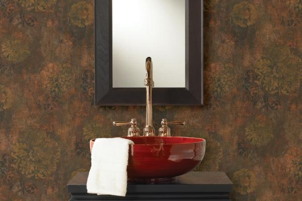 hochglanz rot waschbecken badezimmer spiegel wand
