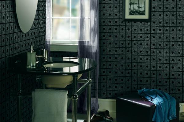 schwarz dramatisch tapeten badezimmer