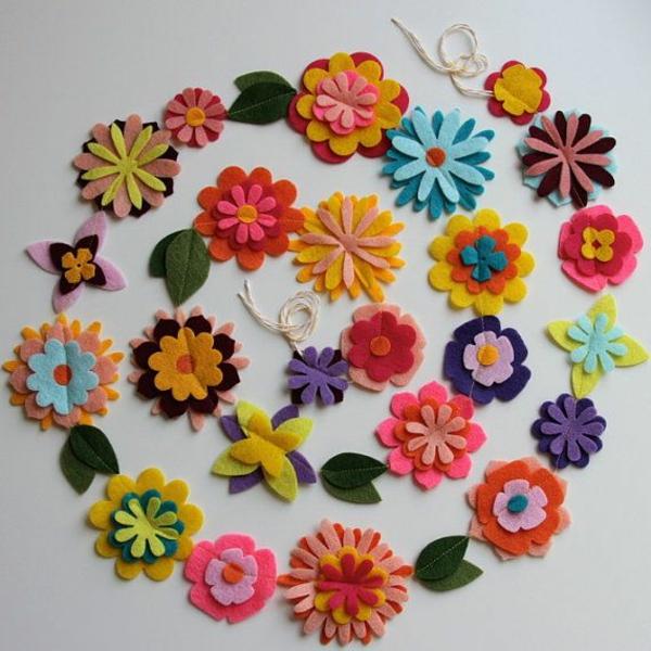filzblumen selber machen diy deko ideen farbige filzstoffe