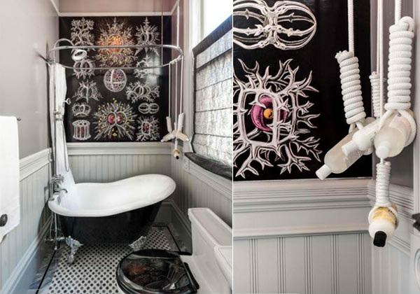 freistehende badewannen schwarz viktorisnischen stil elegante silberne füße wanddeko