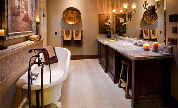 freistehende badewannen weiß elegant viktorisnischen badezimmer möbel aus holz