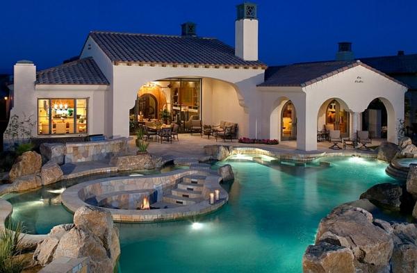 patio pool steine sitzecken im garten