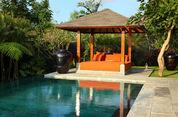 outdoor bett pergola dekoideen pool