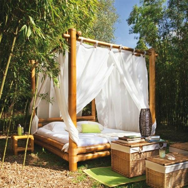 gartengestaltung patio bambusbett gartenmöbel