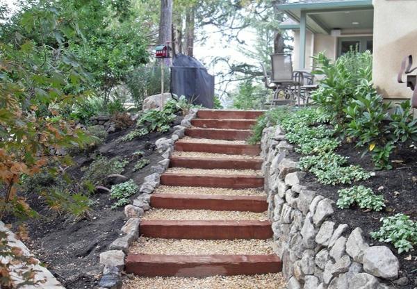gartentreppe stein holz landschaftsbau garten eingang