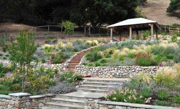 pflanzen stein holz landschaftsbau garten zugang gartentreppe selber bauen
