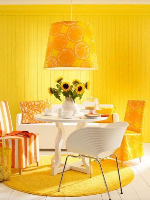 gelb akzent wandfarben esszimmer lampenschirm exotisch
