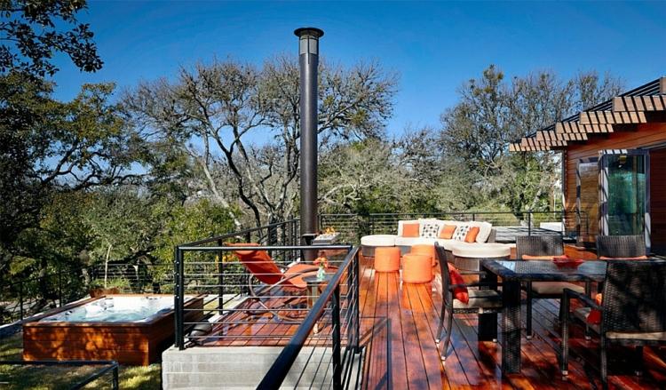 grünes design nachhaltige architektur residenz einfamilienhaus terrasse holzboden