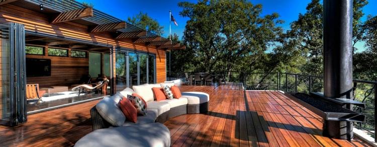 grünes design nachhaltige architektur residenz terrasse holzboden lounge möbel