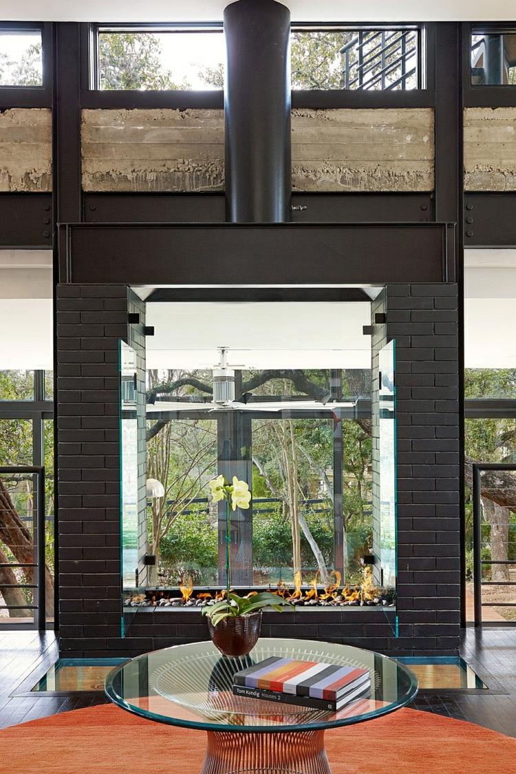 grünes designnachhaltige umweltfreundliche architektur inneneinrichtung wohnbreich kamin