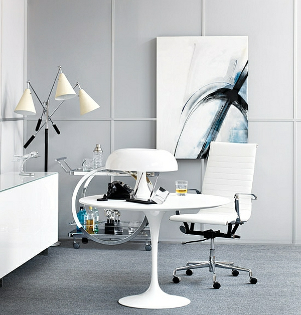 grau weiß farbgestaltung tisch tischlampe Lampen und Leuchten