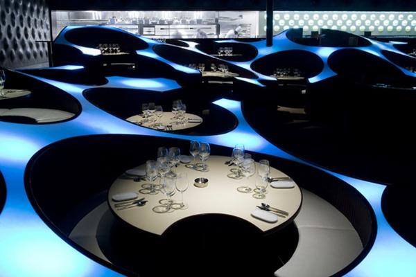 bar restaurant design ideen blue frog lounge indien