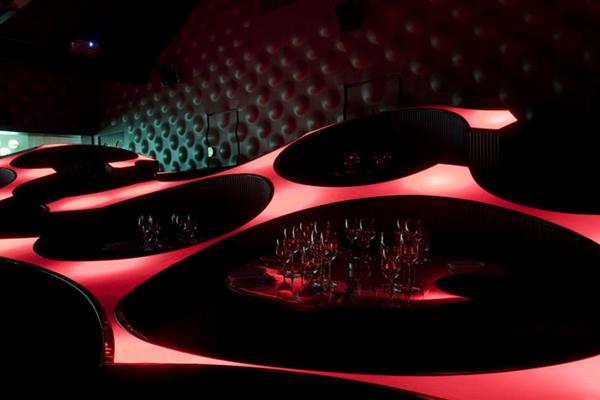 bar restaurant design interior ideen blue frog lounge indien