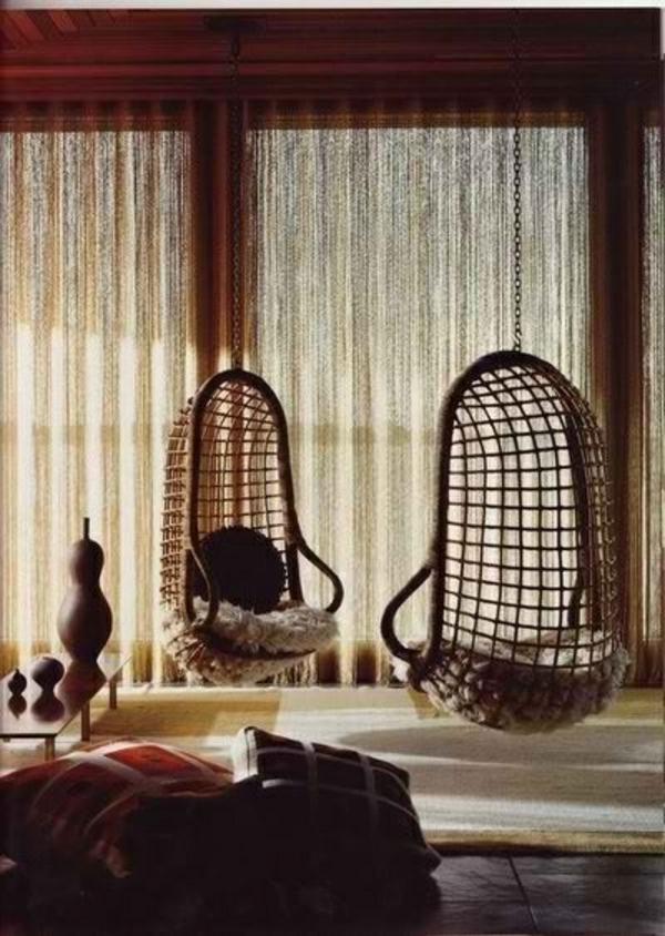 hängesessel rustikal stil wohnen gestell rattan wohnzimmer