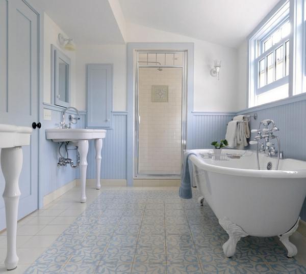 innendesign blau und weiß badezimmer bodenbelag