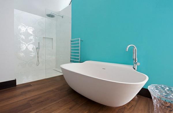 Blau Und Weiß Badezimmer Freistehende Badewanne